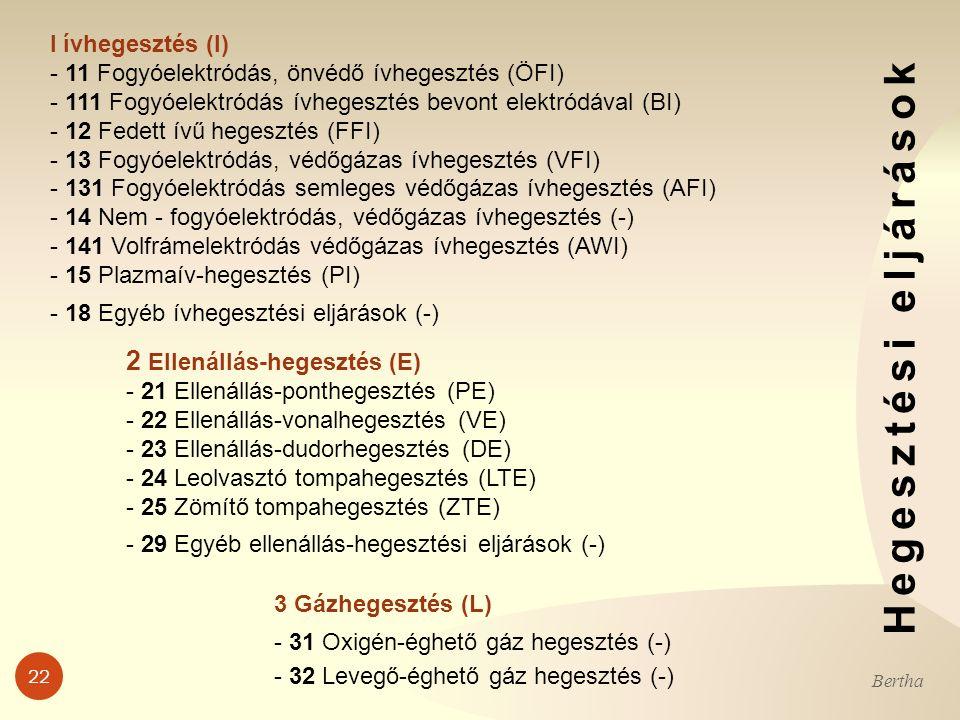 22 Bertha l ívhegesztés (I) - 11 Fogyóelektródás, önvédő ívhegesztés (ÖFI) - 111 Fogyóelektródás ívhegesztés bevont elektródával (BI) - 12 Fedett ívű