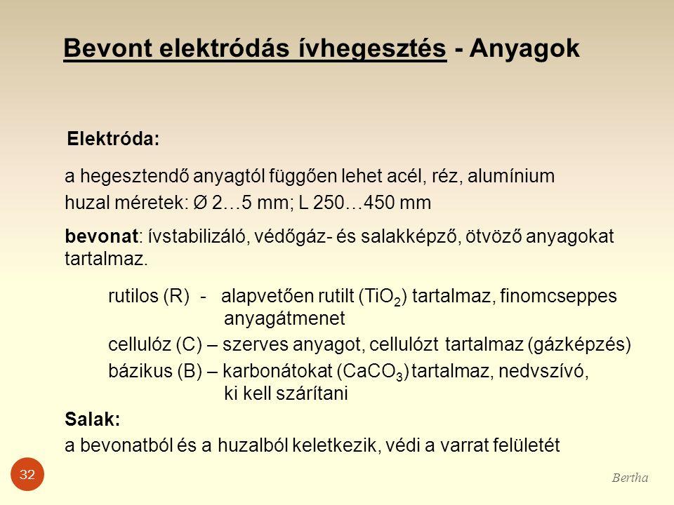 Bevont elektródás ívhegesztés - Anyagok Elektróda: a hegesztendő anyagtól függően lehet acél, réz, alumínium huzal méretek: Ø 2…5 mm; L 250…450 mm bev