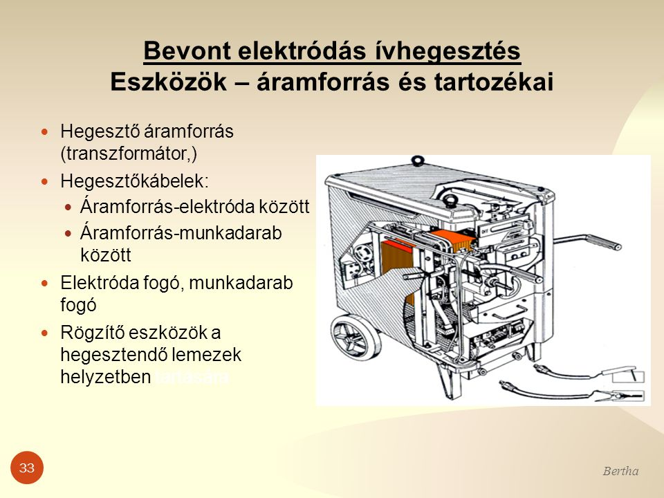 33 Bertha Bevont elektródás ívhegesztés Eszközök – áramforrás és tartozékai Hegesztő áramforrás (transzformátor,) Hegesztőkábelek: Áramforrás-elektród
