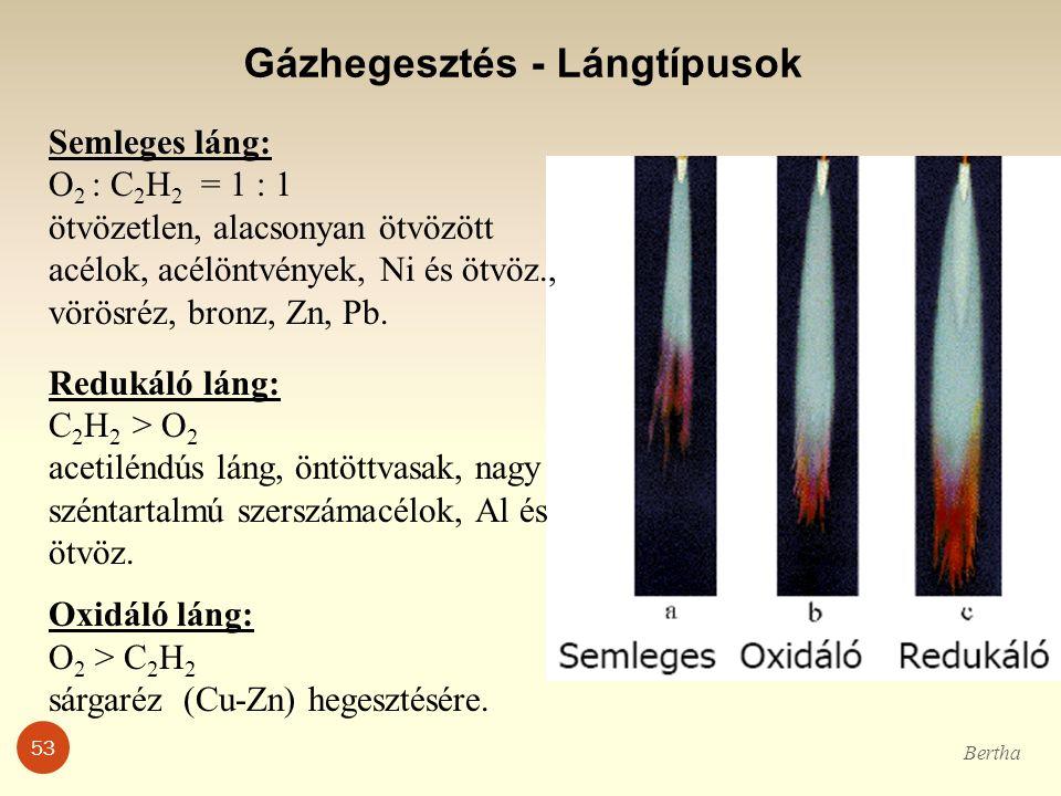 Gázhegesztés - Lángtípusok Semleges láng: O 2 : C 2 H 2 = 1 : 1 ötvözetlen, alacsonyan ötvözött acélok, acélöntvények, Ni és ötvöz., vörösréz, bronz,