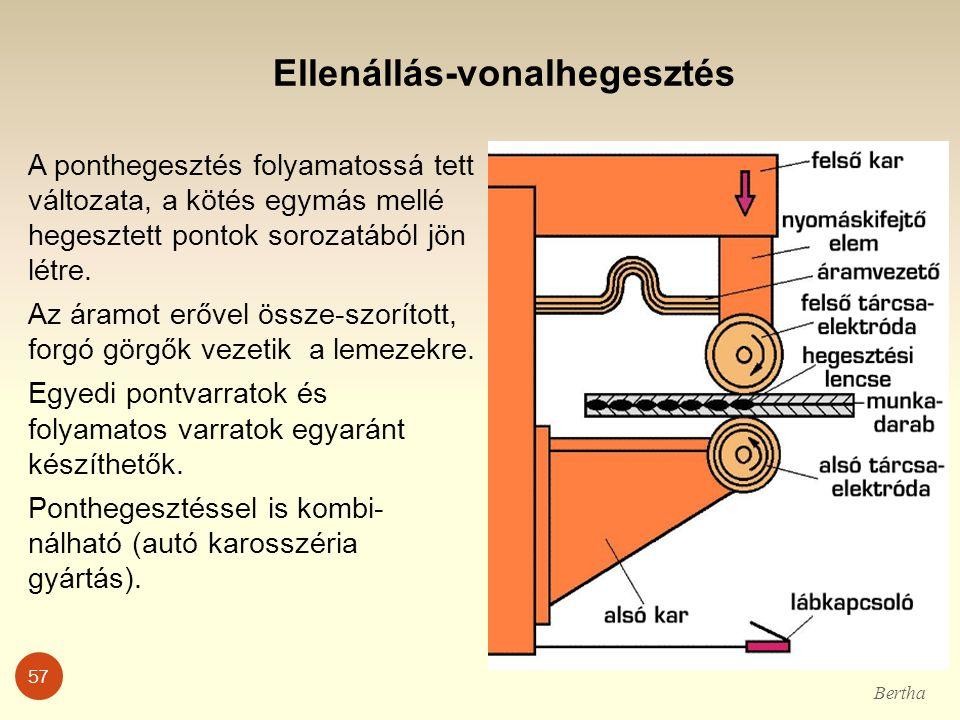 Ellenállás-vonalhegesztés A ponthegesztés folyamatossá tett változata, a kötés egymás mellé hegesztett pontok sorozatából jön létre. Az áramot erővel
