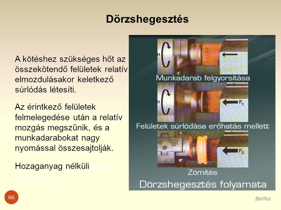 Dörzshegesztés A kötéshez szükséges hőt az összekötendő felületek relatív elmozdulásakor keletkező súrlódás létesíti. Az érintkező felületek felmelege
