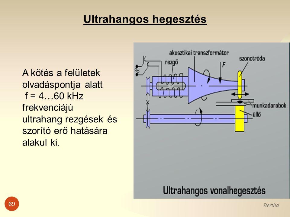 69 Bertha Ultrahangos hegesztés A kötés a felületek olvadáspontja alatt f = 4…60 kHz frekvenciájú ultrahang rezgések és szorító erő hatására alakul ki