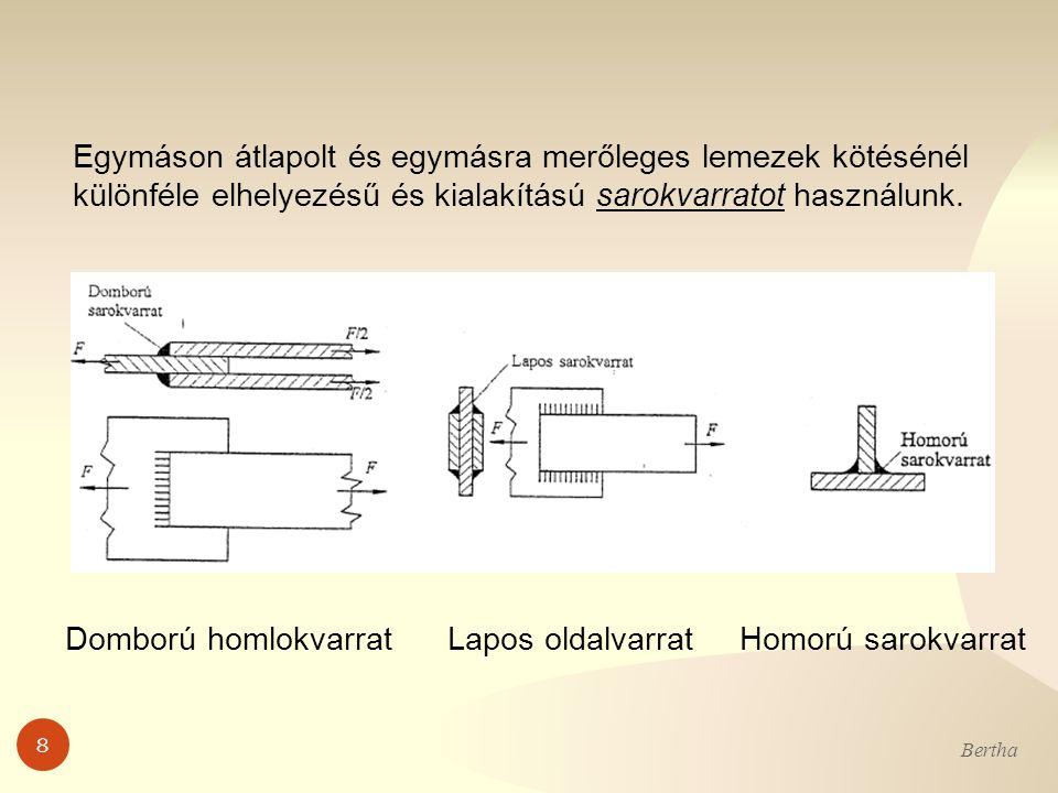 8 Bertha Egymáson átlapolt és egymásra merőleges lemezek kötésénél különféle elhelyezésű és kialakítású sarokvarratot használunk. Domború homlokvarrat