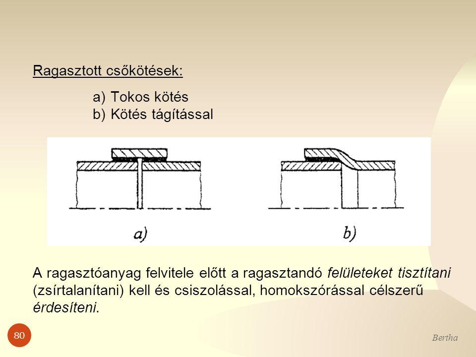 80 Bertha Ragasztott csőkötések: a)Tokos kötés b)Kötés tágítással A ragasztóanyag felvitele előtt a ragasztandó felületeket tisztítani (zsírtalanítani