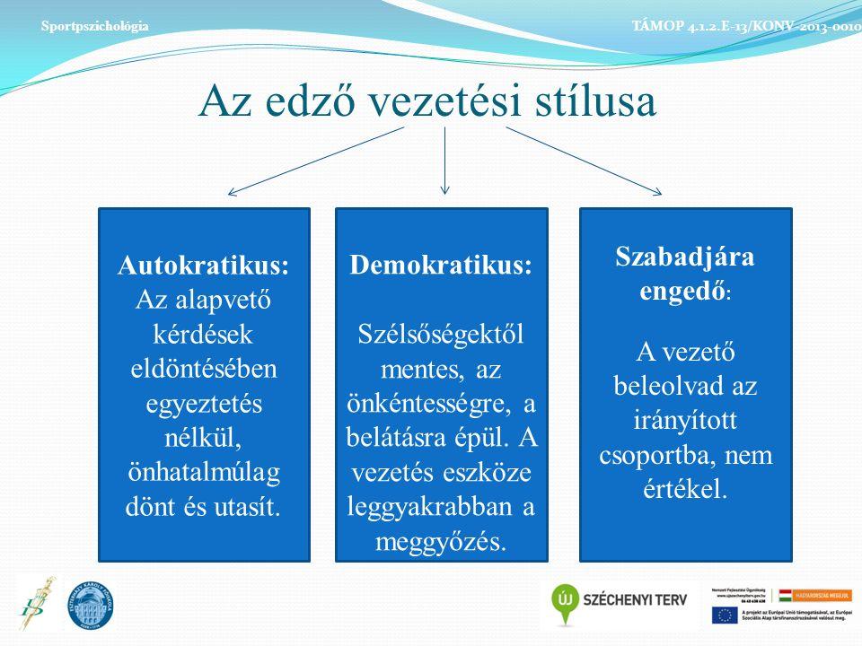 Az edző vezetési stílusa Sportpszichológia TÁMOP 4.1.2.E-13/KONV-2013-0010 Autokratikus: Az alapvető kérdések eldöntésében egyeztetés nélkül, önhatalmúlag dönt és utasít.