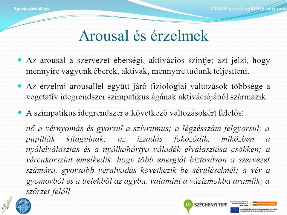 Arousal és érzelmek Az arousal a szervezet éberségi, aktivációs szintje; azt jelzi, hogy mennyire vagyunk éberek, aktívak, mennyire tudunk teljesíteni.