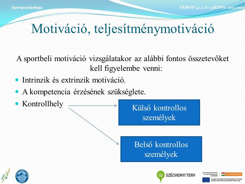 Motiváció, teljesítménymotiváció A sportbeli motiváció vizsgálatakor az alábbi fontos összetevőket kell figyelembe venni: Intrinzik és extrinzik motiváció.