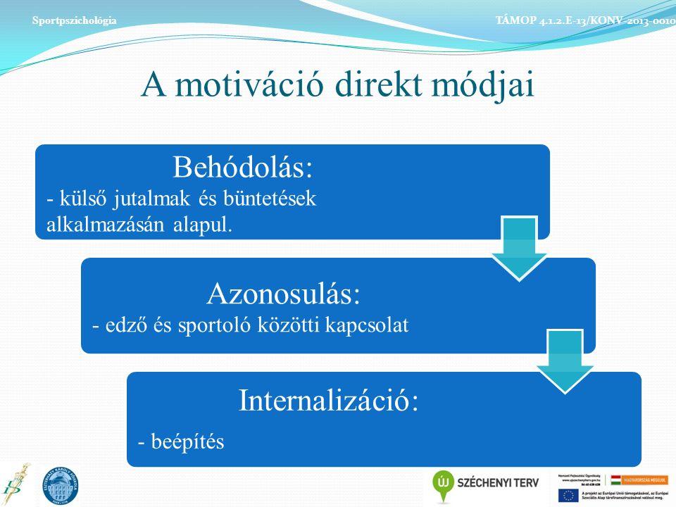 A motiváció direkt módjai Behódolás: - külső jutalmak és büntetések alkalmazásán alapul.