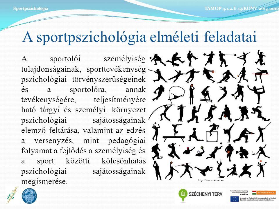 A sportpszichológia elméleti feladatai A sportolói személyiség tulajdonságainak, sporttevékenység pszichológiai törvényszerűségeinek és a sportolóra, annak tevékenységére, teljesítményére ható tárgyi és személyi, környezet pszichológiai sajátosságainak elemző feltárása, valamint az edzés a versenyzés, mint pedagógiai folyamat a fejlődés a személyiség és a sport közötti kölcsönhatás pszichológiai sajátosságainak megismerése.