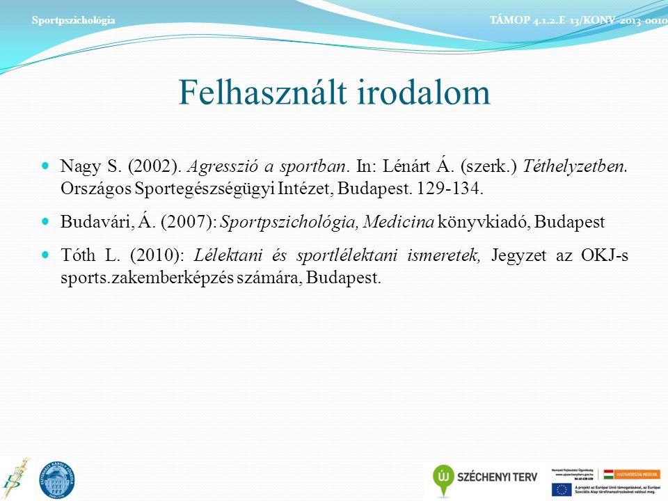 Felhasznált irodalom Nagy S. (2002). Agresszió a sportban.