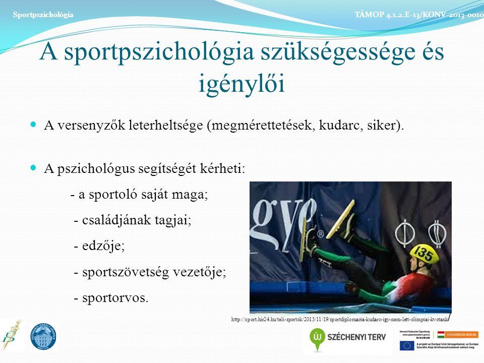 A sportpszichológia szükségessége és igénylői A versenyzők leterheltsége (megmérettetések, kudarc, siker).