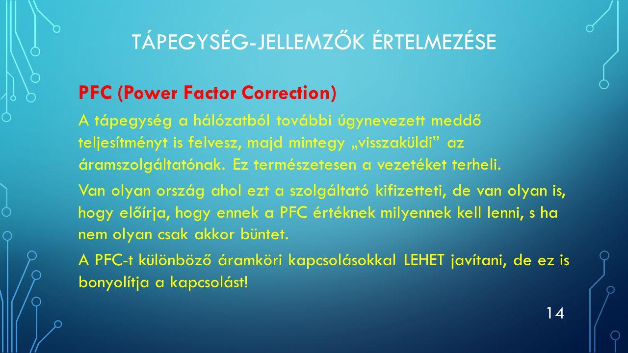 TÁPEGYSÉG-JELLEMZŐK ÉRTELMEZÉSE PFC (Power Factor Correction) A tápegység a hálózatból további úgynevezett meddő teljesítményt is felvesz, majd minteg