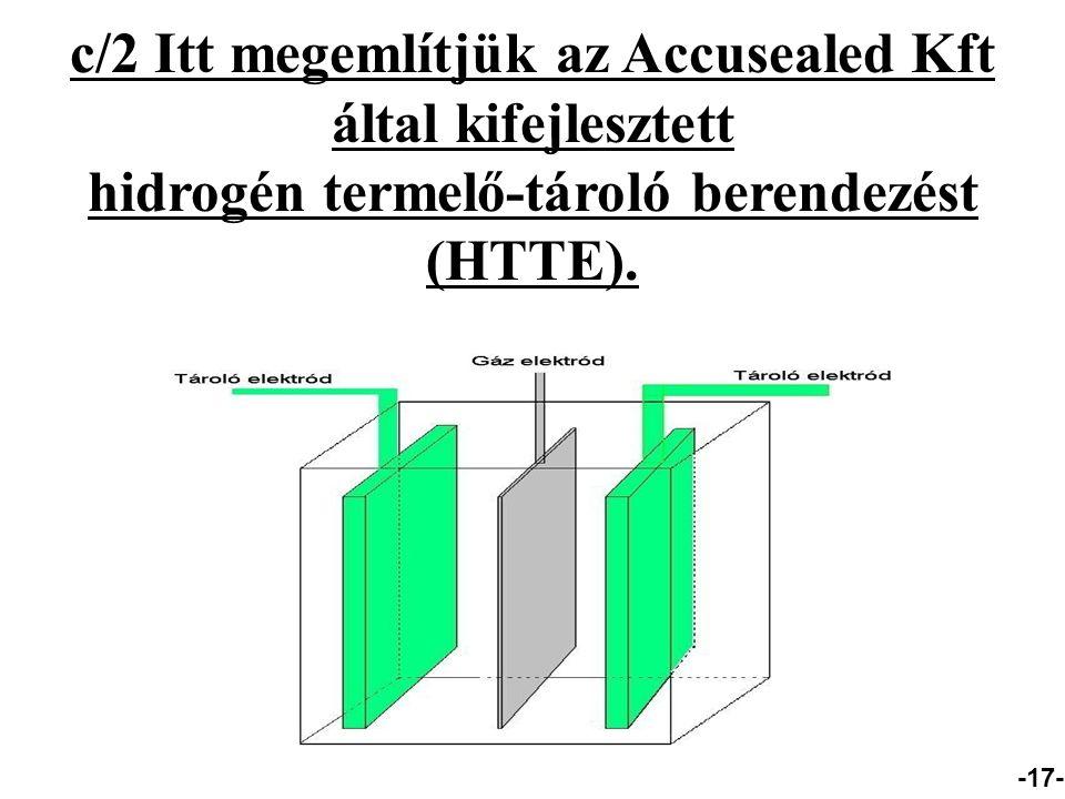 c/2 Itt megemlítjük az Accusealed Kft által kifejlesztett hidrogén termelő-tároló berendezést (HTTE).
