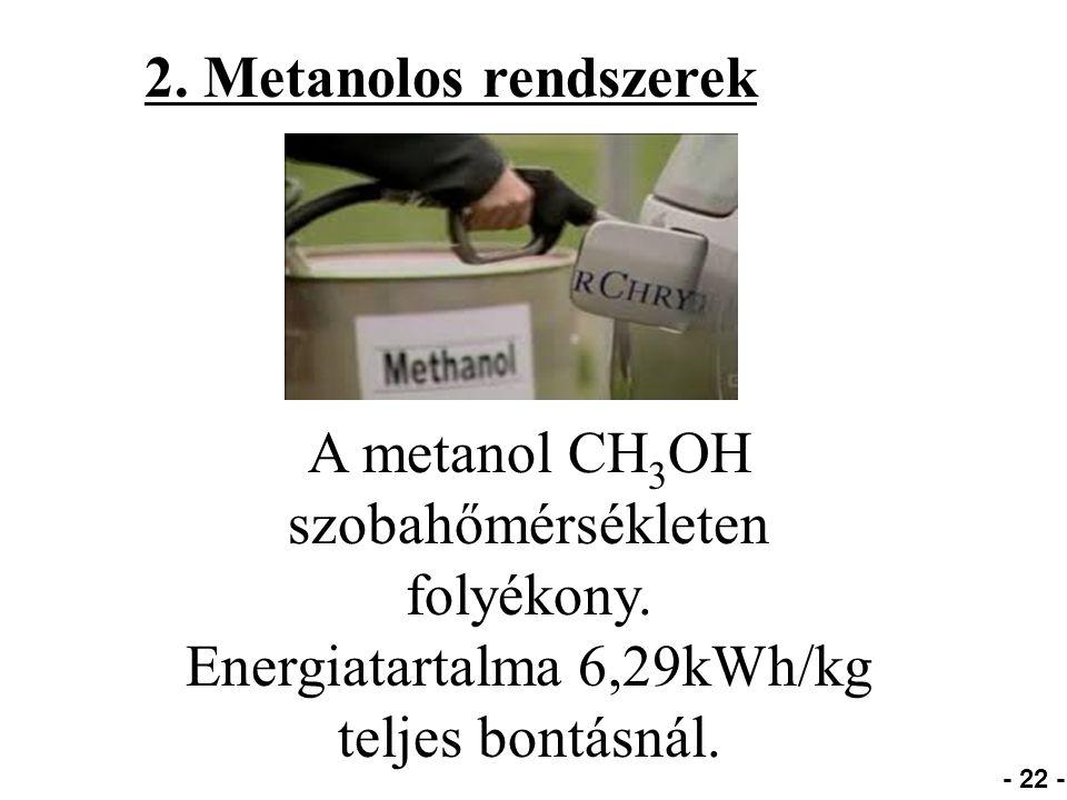 2. Metanolos rendszerek - 22 - A metanol CH 3 OH szobahőmérsékleten folyékony.