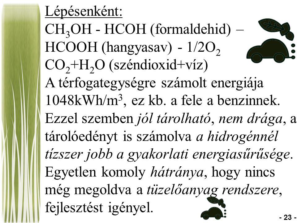 Lépésenként: CH 3 OH - HCOH (formaldehid) – HCOOH (hangyasav) - 1/2O 2 CO 2 +H 2 O (széndioxid+víz) A térfogategységre számolt energiája 1048kWh/m 3, ez kb.