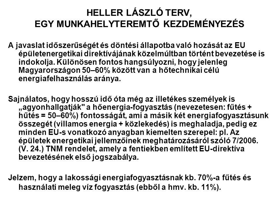 HELLER LÁSZLÓ TERV, EGY MUNKAHELYTEREMTŐ KEZDEMÉNYEZÉS A javaslat időszerűségét és döntési állapotba való hozását az EU épületenergetikai direktívájának közelmúltban történt bevezetése is indokolja.
