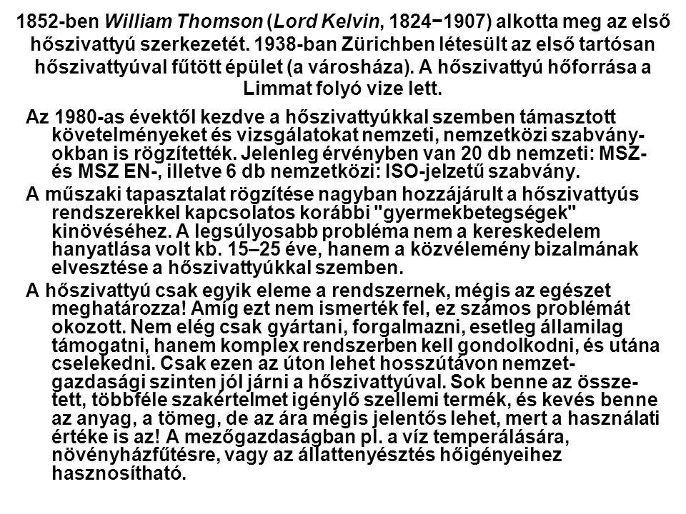 1852-ben William Thomson (Lord Kelvin, 1824−1907) alkotta meg az első hőszivattyú szerkezetét.