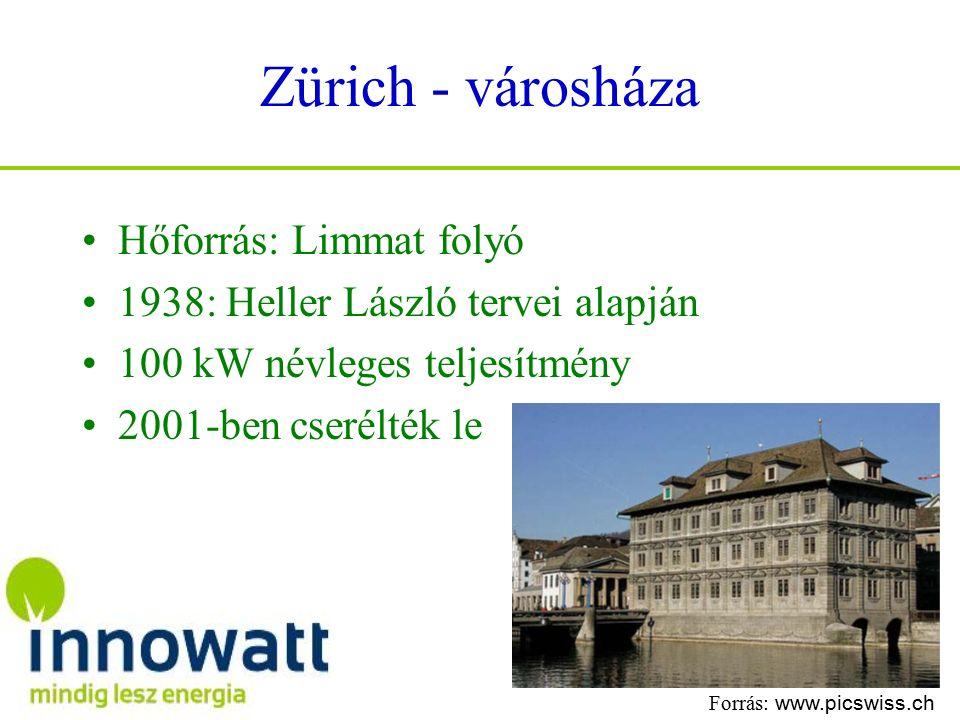 Zürich - városháza Hőforrás: Limmat folyó 1938: Heller László tervei alapján 100 kW névleges teljesítmény 2001-ben cserélték le Forrás: www.picswiss.ch