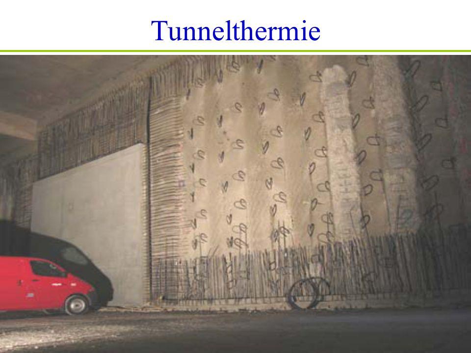 Tunnelthermie Stabilitás + energiatermelés Masszív abszorber technológia Nagy felületű alagút-falak Állandó hőmérséklet (átlag kb.