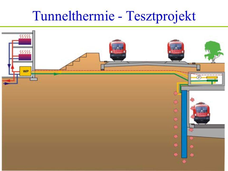 Tunnelthermie - Tesztprojekt Lainzer Tunnel ›› Iskola hőközpontja 2004.februárban adták át Cél: Technológia optimalizálása 59 energiacölöp, 130 kW teljesítmény 200 MWh/év hőenergia Megtakarítások: 10.000€/év, 30.000m 3 földgáz, 30t/év CO 2