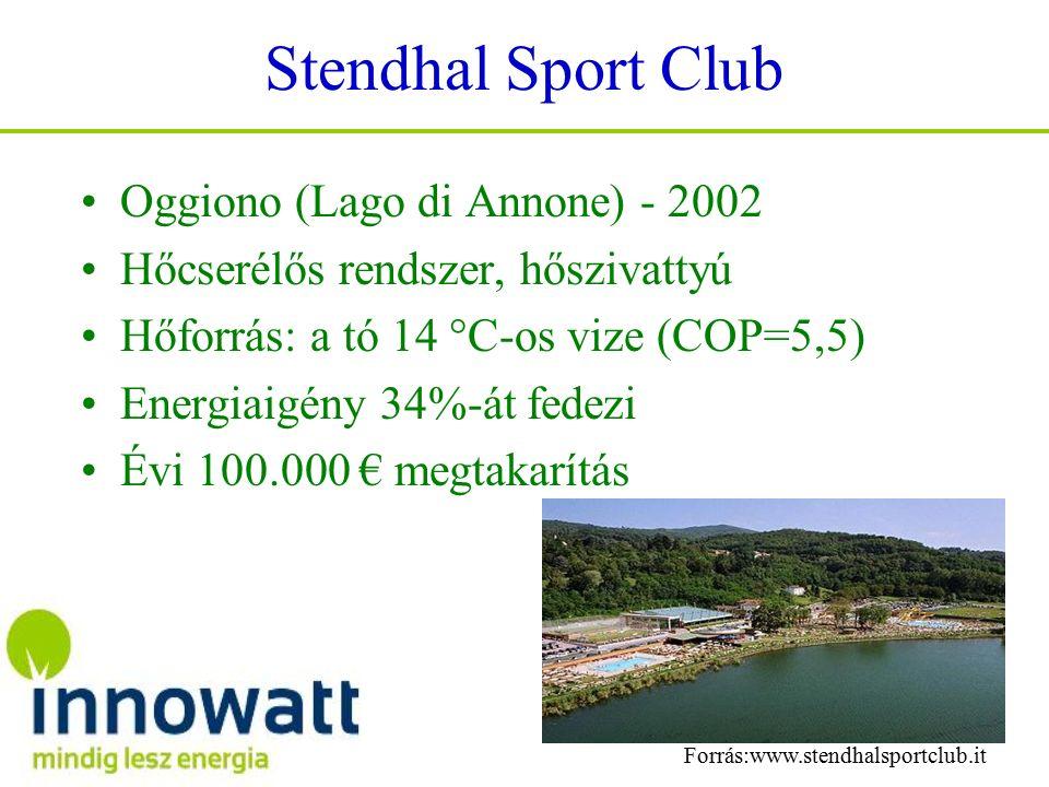 Stendhal Sport Club Oggiono (Lago di Annone) - 2002 Hőcserélős rendszer, hőszivattyú Hőforrás: a tó 14 °C-os vize (COP=5,5) Energiaigény 34%-át fedezi Évi 100.000 € megtakarítás Forrás:www.stendhalsportclub.it