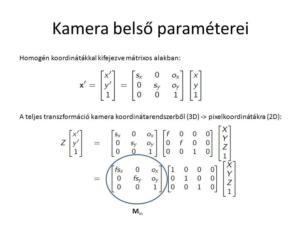 Kamera belső paraméterei Homogén koordinátákkal kifejezve mátrixos alakban: A teljes transzformáció kamera koordinátarendszerből (3D) -> pixelkoordinátákra (2D): M in