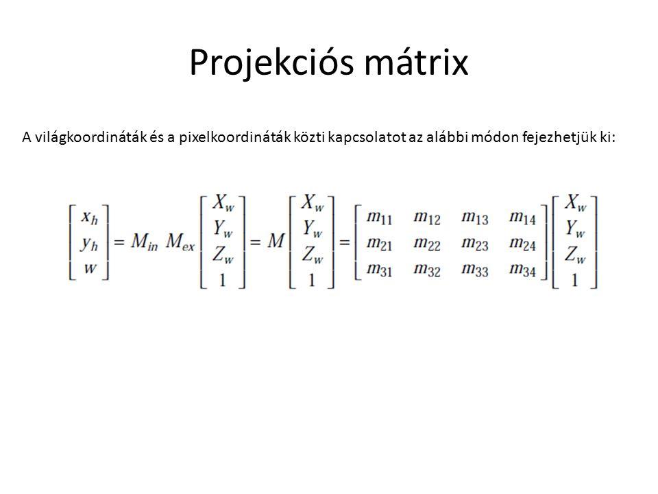 Projekciós mátrix A világkoordináták és a pixelkoordináták közti kapcsolatot az alábbi módon fejezhetjük ki: