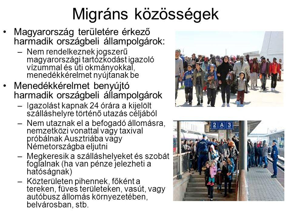 Migráns közösségek Magyarország területére érkező harmadik országbeli állampolgárok: –Nem rendelkeznek jogszerű magyarországi tartózkodást igazoló víz