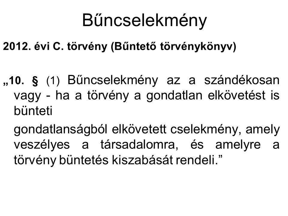 """Bűncselekmény 2012. évi C. törvény (Bűntető törvénykönyv) """"10. § (1) Bűncselekmény az a szándékosan vagy - ha a törvény a gondatlan elkövetést is bünt"""