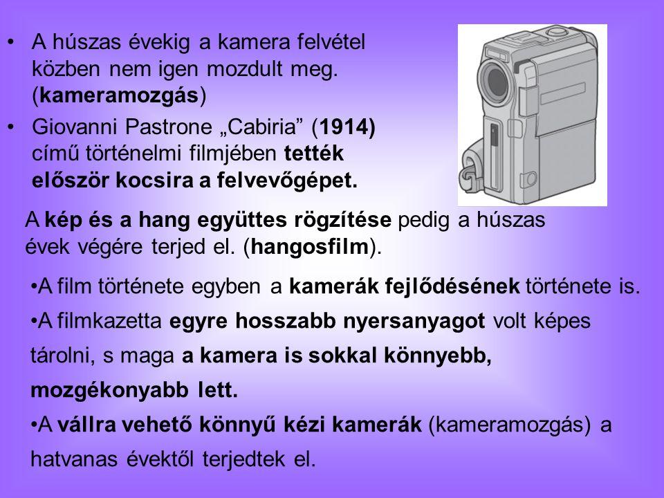"""A húszas évekig a kamera felvétel közben nem igen mozdult meg. (kameramozgás) Giovanni Pastrone """"Cabiria"""" (1914) című történelmi filmjében tették elős"""