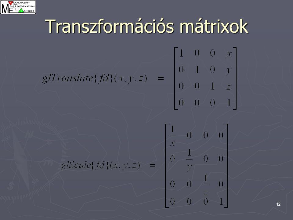 12 Transzformációs mátrixok