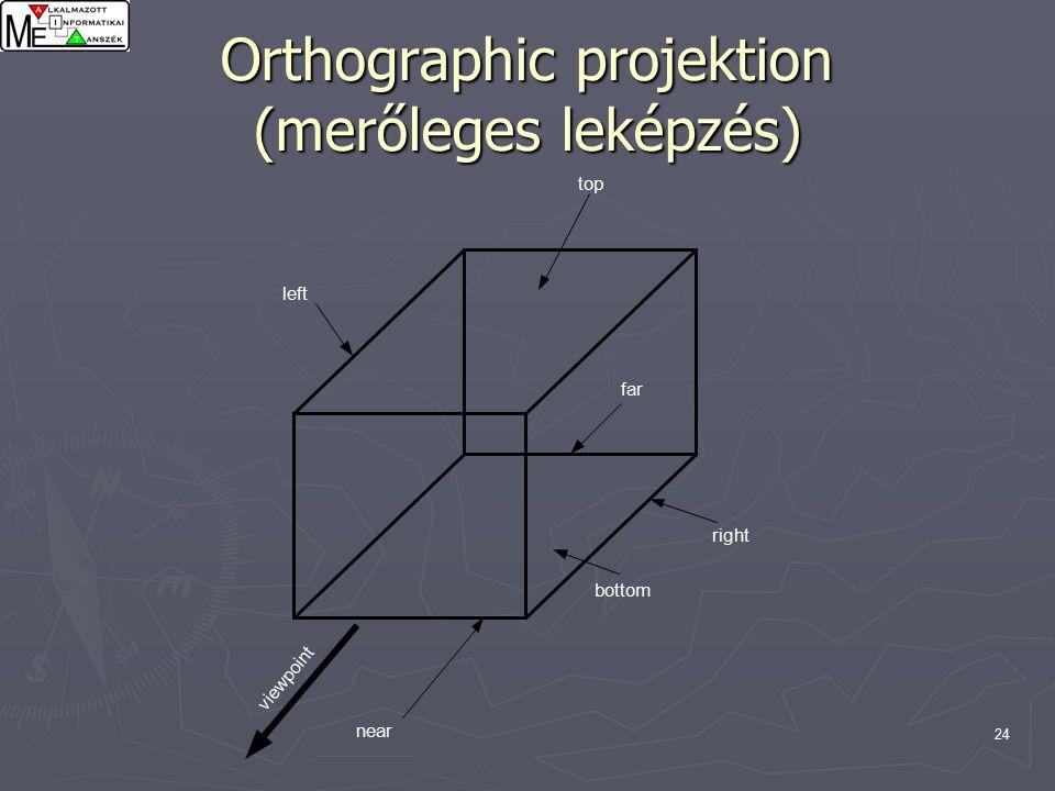 24 Orthographic projektion (merőleges leképzés) near right bottom far left top viewpoint