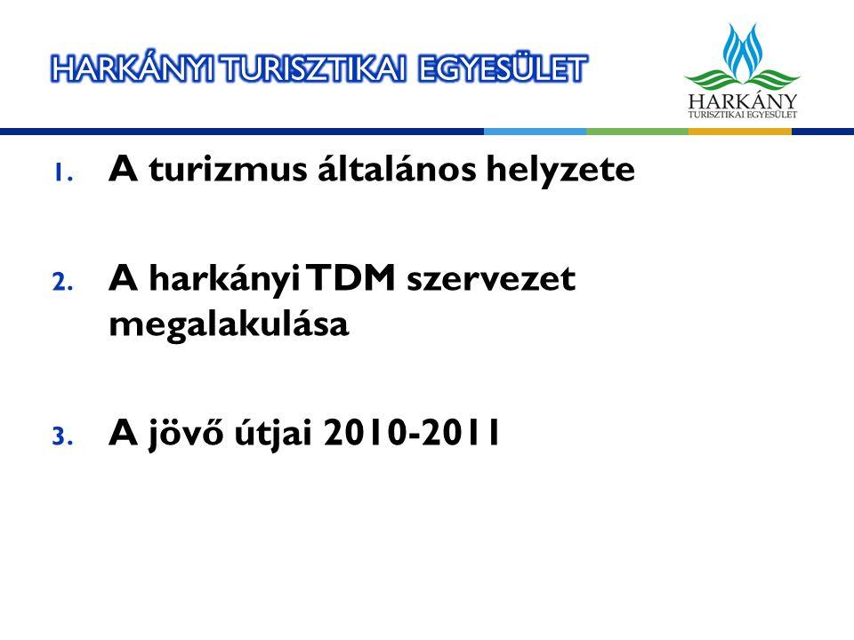 1. A turizmus általános helyzete 2. A harkányi TDM szervezet megalakulása 3. A jövő útjai 2010-2011
