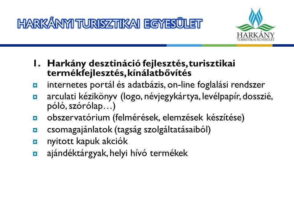 1.Harkány desztináció fejlesztés, turisztikai termékfejlesztés, kínálatbővítés  internetes portál és adatbázis, on-line foglalási rendszer  arculati kézikönyv (logo, névjegykártya, levélpapír, dosszié, póló, szórólap…)  obszervatórium (felmérések, elemzések készítése)  csomagajánlatok (tagság szolgáltatásaiból)  nyitott kapuk akciók  ajándéktárgyak, helyi hívó termékek