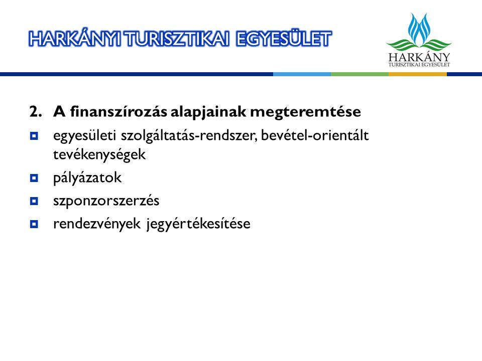 2.A finanszírozás alapjainak megteremtése  egyesületi szolgáltatás-rendszer, bevétel-orientált tevékenységek  pályázatok  szponzorszerzés  rendezvények jegyértékesítése