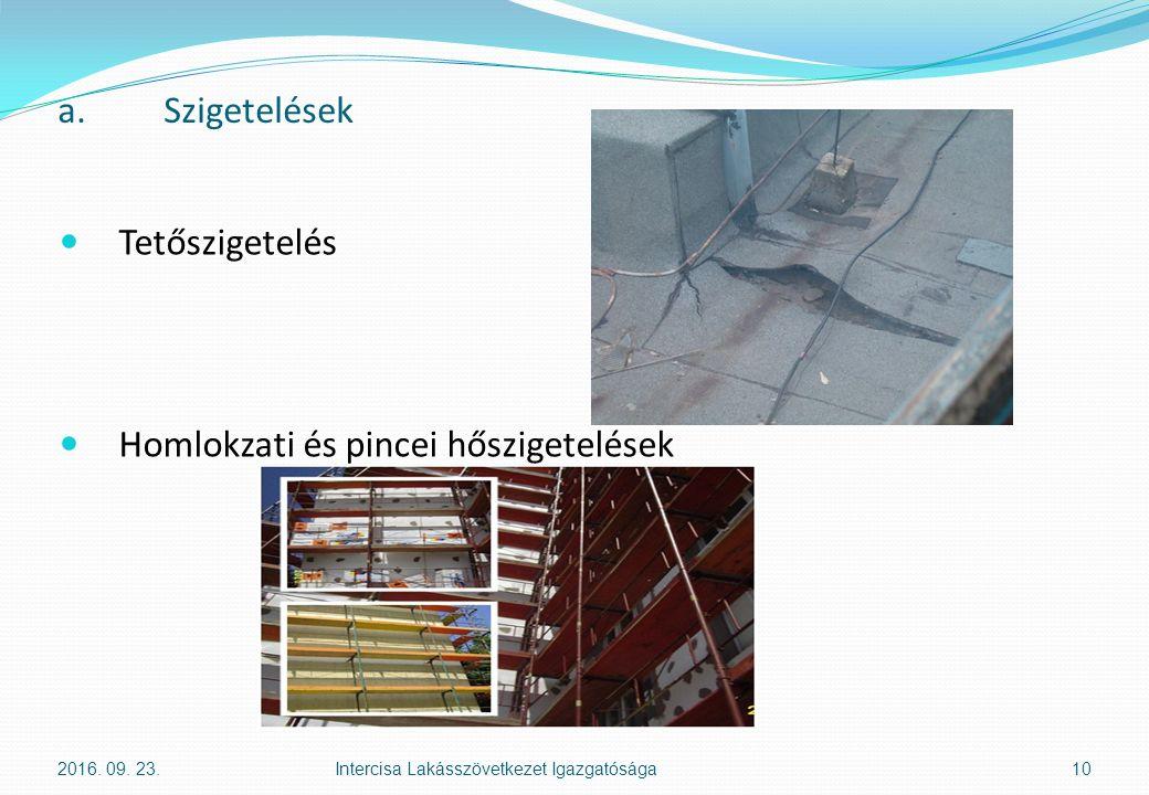 a.Szigetelések Tetőszigetelés Homlokzati és pincei hőszigetelések 2016. 09. 23.Intercisa Lakásszövetkezet Igazgatósága10