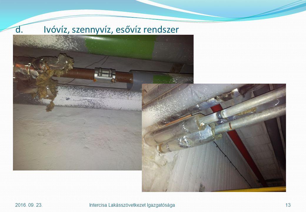 d.Ivóvíz, szennyvíz, esővíz rendszer 2016. 09. 23.Intercisa Lakásszövetkezet Igazgatósága13