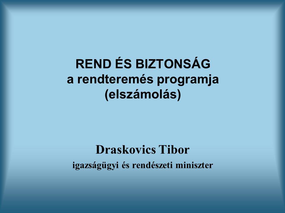 REND ÉS BIZTONSÁG a rendteremés programja (elszámolás) Draskovics Tibor igazságügyi és rendészeti miniszter