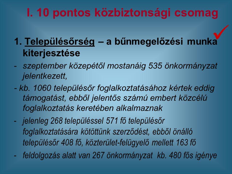 1. Településőrség – a bűnmegelőzési munka kiterjesztése -szeptember közepétől mostanáig 535 önkormányzat jelentkezett, - kb. 1060 településőr foglalko