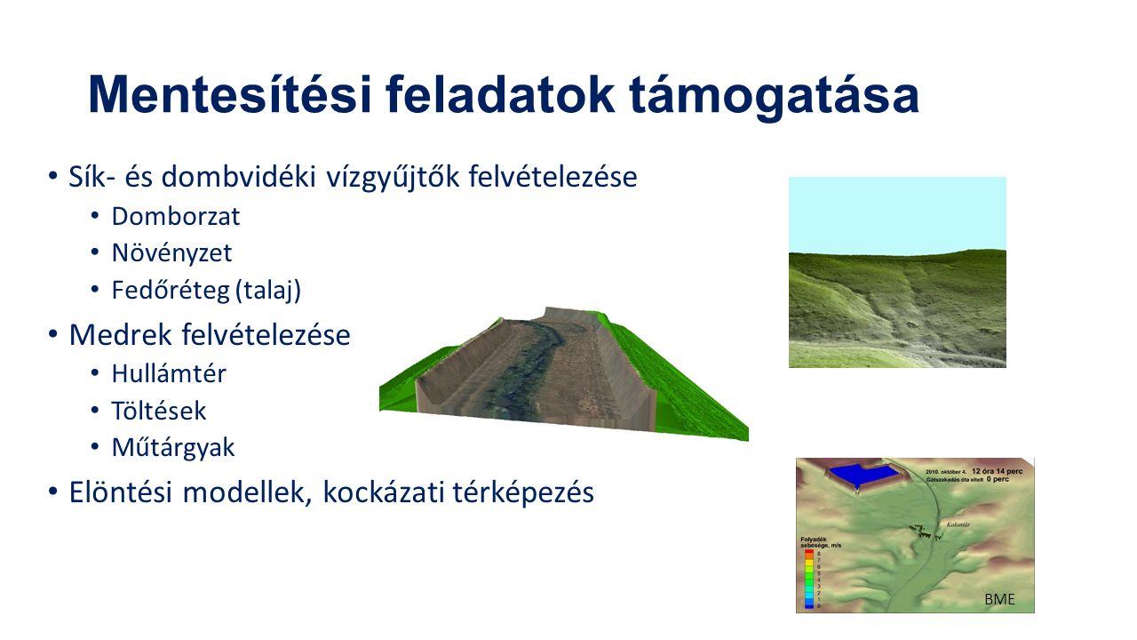 Mentesítési feladatok támogatása Sík- és dombvidéki vízgyűjtők felvételezése Domborzat Növényzet Fedőréteg (talaj) Medrek felvételezése Hullámtér Töltések Műtárgyak Elöntési modellek, kockázati térképezés BME