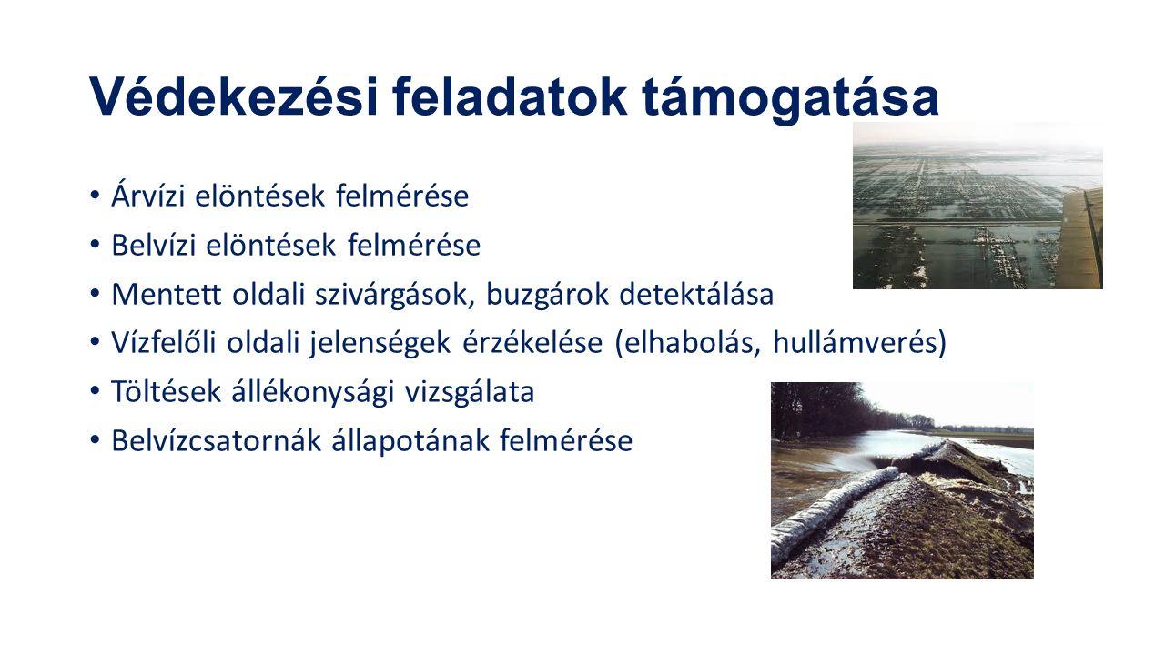 Védekezési feladatok támogatása Árvízi elöntések felmérése Belvízi elöntések felmérése Mentett oldali szivárgások, buzgárok detektálása Vízfelőli oldali jelenségek érzékelése (elhabolás, hullámverés) Töltések állékonysági vizsgálata Belvízcsatornák állapotának felmérése