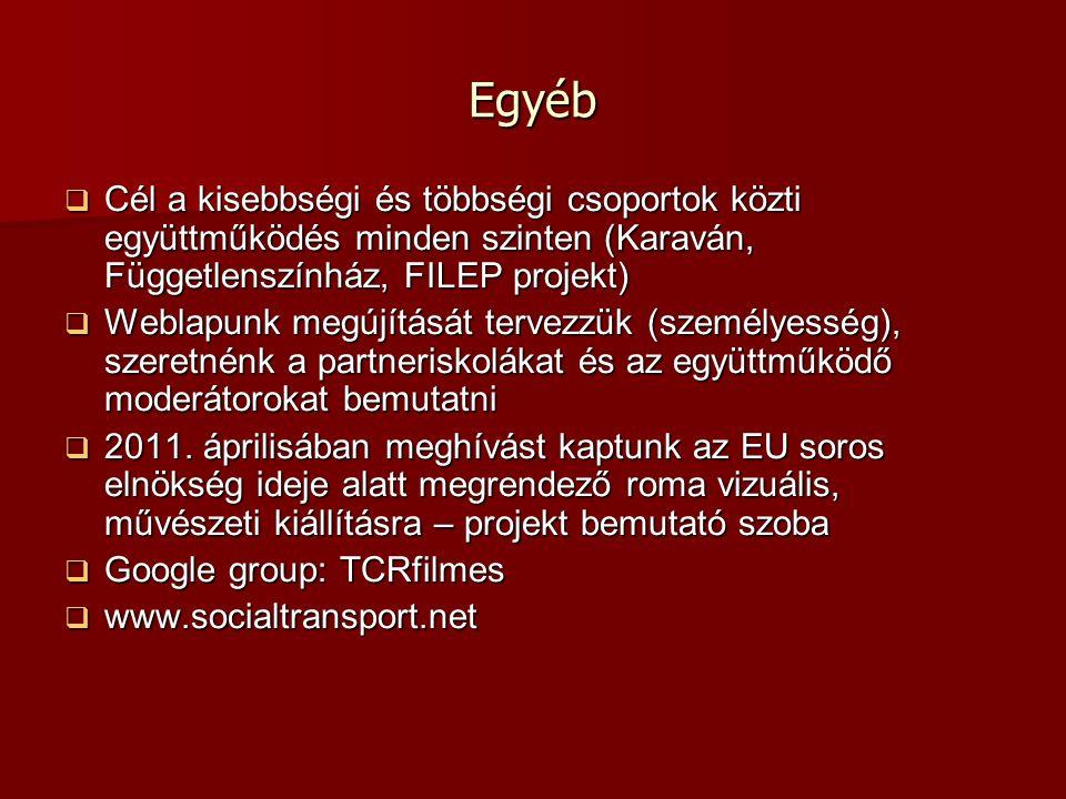 Egyéb  Cél a kisebbségi és többségi csoportok közti együttműködés minden szinten (Karaván, Függetlenszínház, FILEP projekt)  Weblapunk megújítását tervezzük (személyesség), szeretnénk a partneriskolákat és az együttműködő moderátorokat bemutatni  2011.
