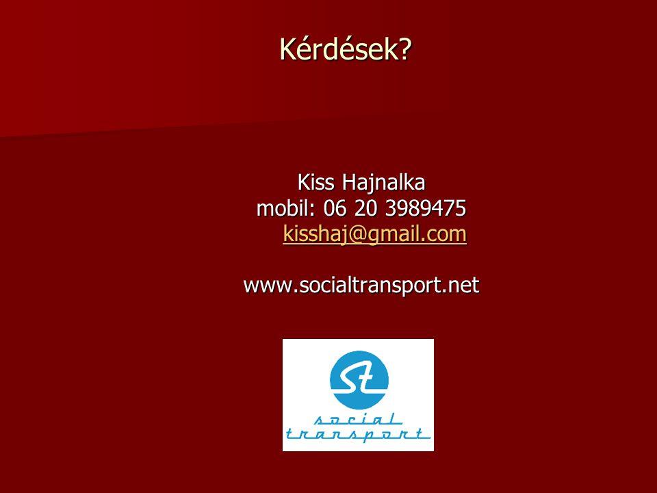 Kérdések? Kiss Hajnalka mobil: 06 20 3989475 kisshaj@gmail.com kisshaj@gmail.comkisshaj@gmail.com www.socialtransport.net