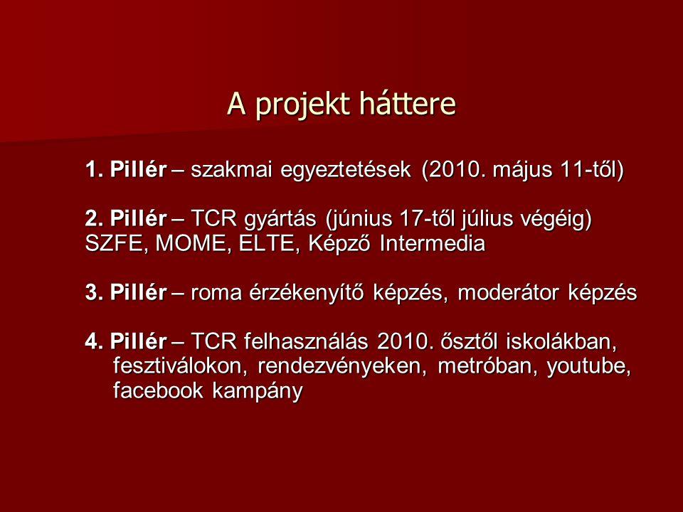 A projekt háttere A projekt háttere 1. Pillér – szakmai egyeztetések (2010. május 11-től) 2. Pillér – TCR gyártás (június 17-től július végéig) SZFE,