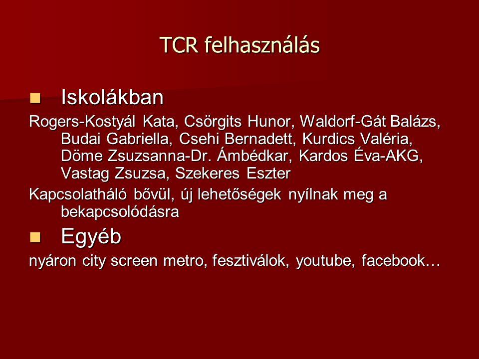 TCR felhasználás Iskolákban Iskolákban Rogers-Kostyál Kata, Csörgits Hunor, Waldorf-Gát Balázs, Budai Gabriella, Csehi Bernadett, Kurdics Valéria, Döme Zsuzsanna-Dr.
