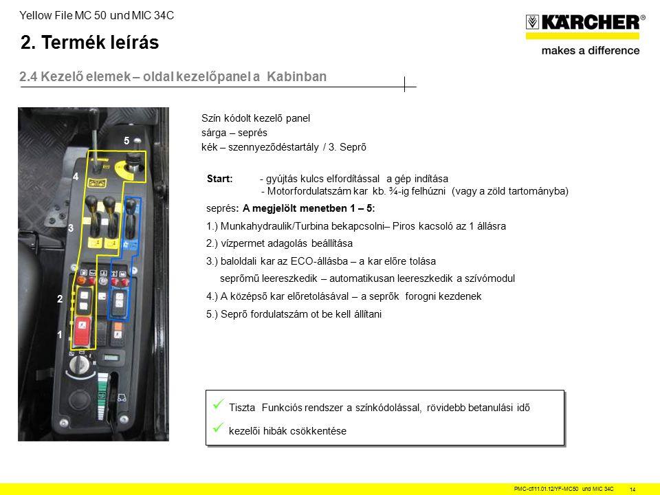 Yellow File MC 50 und MIC 34C PMC-cf/11.01.12/YF-MC50 und MIC 34C 14 2.4 Kezelő elemek – oldal kezelőpanel a Kabinban Tiszta Funkciós rendszer a színkódolással, rövidebb betanulási idő kezelői hibák csökkentése Tiszta Funkciós rendszer a színkódolással, rövidebb betanulási idő kezelői hibák csökkentése 5 1 2 3 5 4 Szín kódolt kezelő panel sárga – seprés kék – szennyeződéstartály / 3.