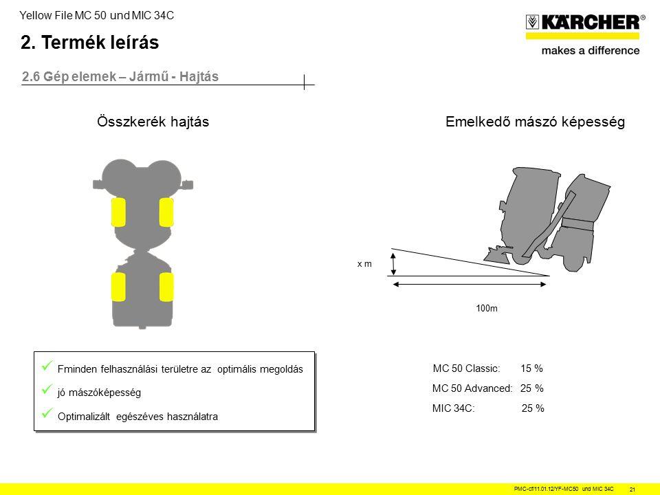 Yellow File MC 50 und MIC 34C PMC-cf/11.01.12/YF-MC50 und MIC 34C 21 2.6 Gép elemek – Jármű - Hajtás Összkerék hajtás Fminden felhasználási területre az optimális megoldás jó mászóképesség Optimalizált egészéves használatra Fminden felhasználási területre az optimális megoldás jó mászóképesség Optimalizált egészéves használatra 100m x m Emelkedő mászó képesség MC 50 Classic: 15 % MC 50 Advanced: 25 % MIC 34C: 25 % 2.