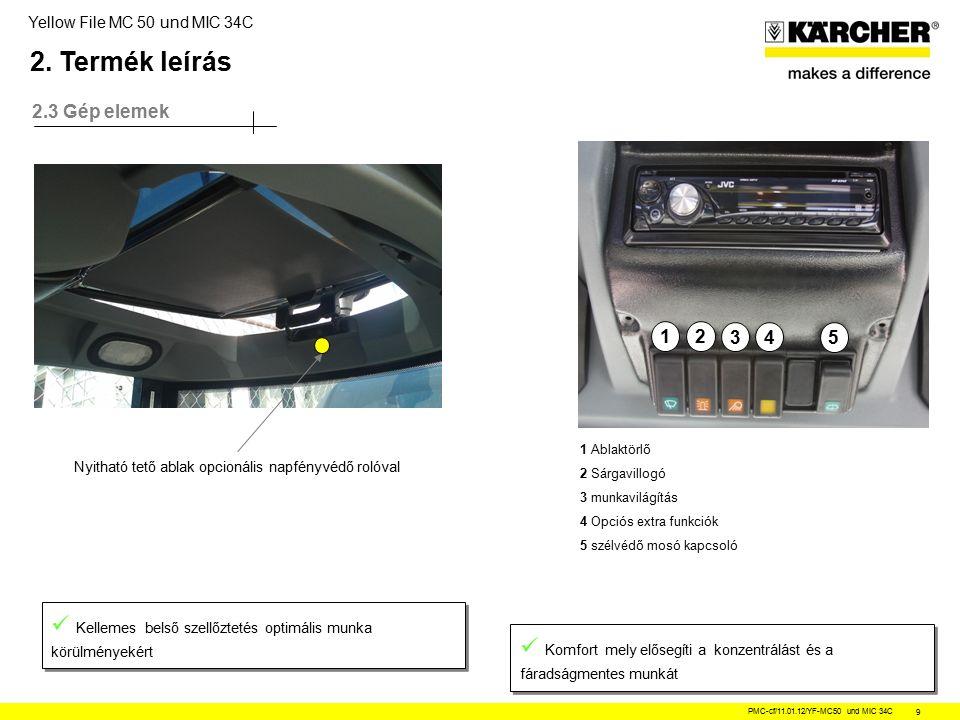 Yellow File MC 50 und MIC 34C PMC-cf/11.01.12/YF-MC50 und MIC 34C 9 2.3 Gép elemek Nyitható tető ablak opcionális napfényvédő rolóval Kellemes belső szellőztetés optimális munka körülményekért Komfort mely elősegíti a konzentrálást és a fáradságmentes munkát 21 34 5 1 Ablaktörlő 2 Sárgavillogó 3 munkavilágítás 4 Opciós extra funkciók 5 szélvédő mosó kapcsoló 2.