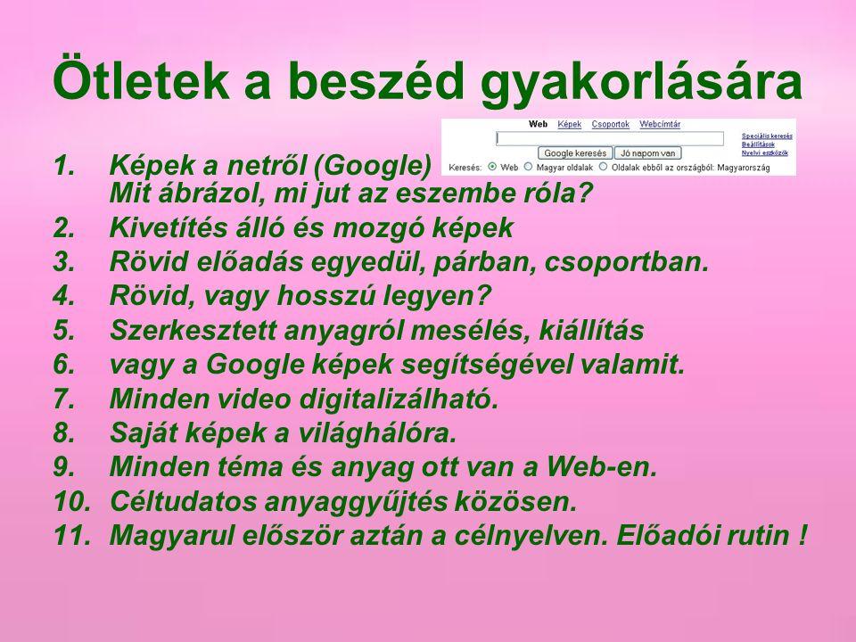 Ötletek a beszéd gyakorlására 1.Képek a netről (Google) Mit ábrázol, mi jut az eszembe róla? 2.Kivetítés álló és mozgó képek 3.Rövid előadás egyedül,
